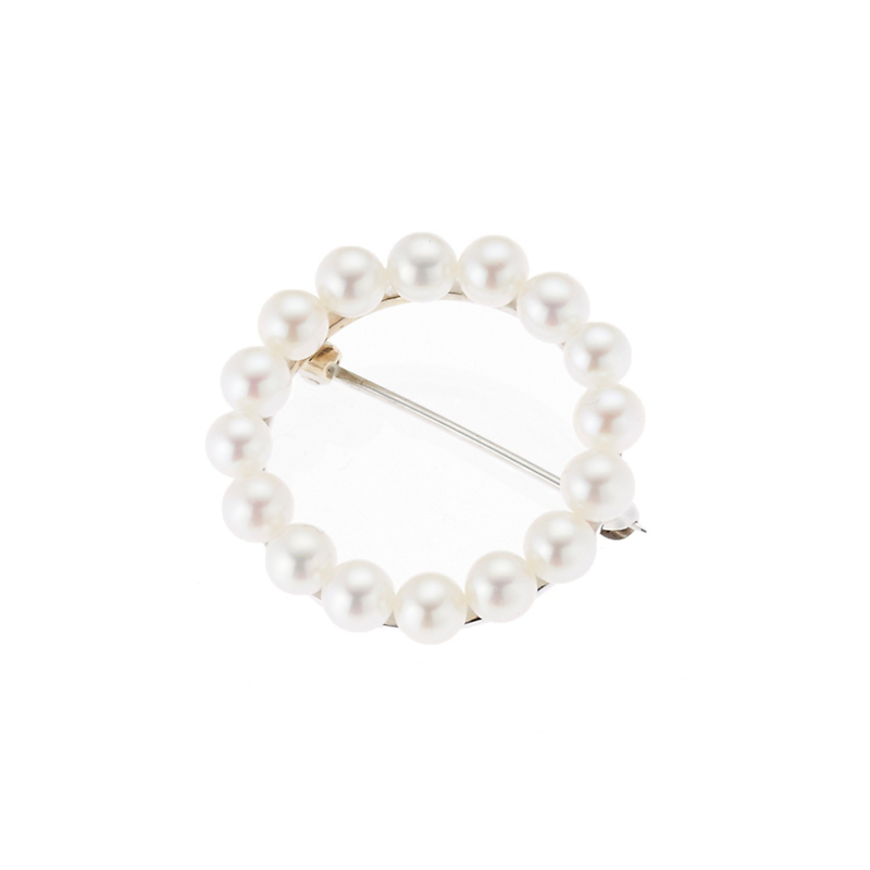 White Freshwater Pearl Open Circle Pin