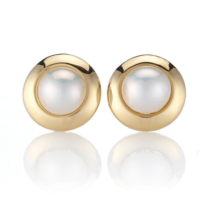 Mabé Pearl Wide Bezel Gold Earrings