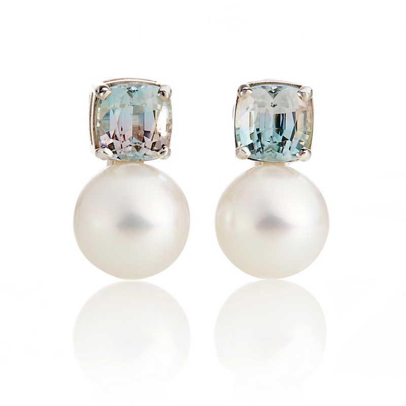 Gump's Tourmaline & White South Sea Pearl Earrings