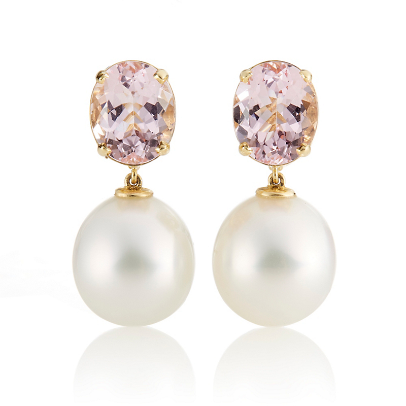 Gump's Oval Morganite & White South Sea Pearl Drop Earrings