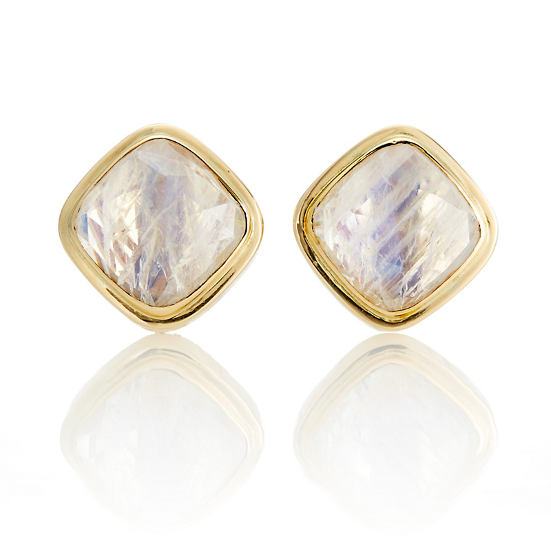 Gump's Rose-Cut Offset Square Moonstone Bezel Earrings