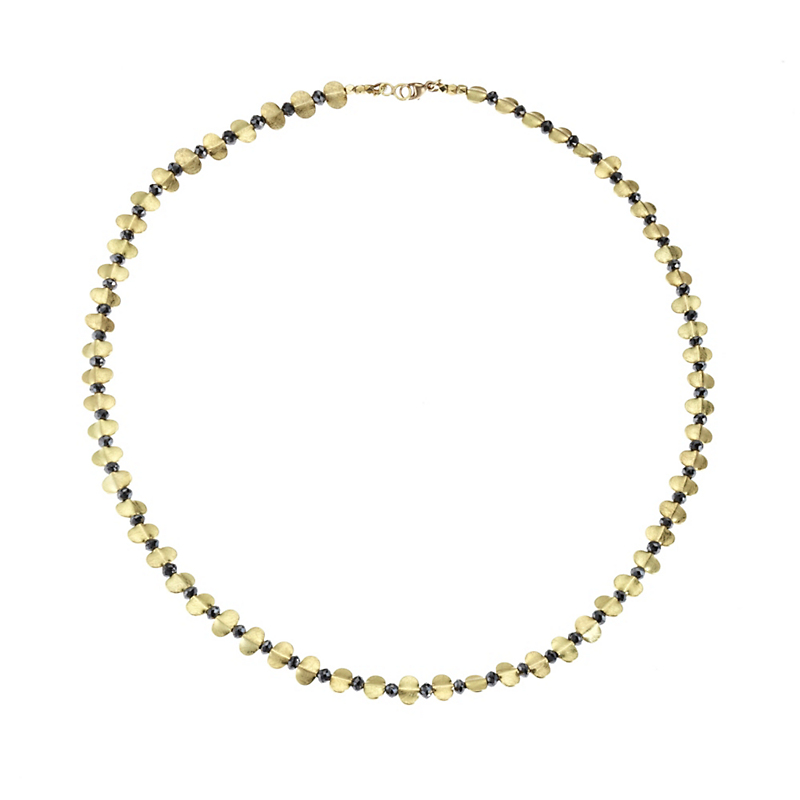 Barbara Heinrich Black Diamond With Gold Wing Spacers Necklace