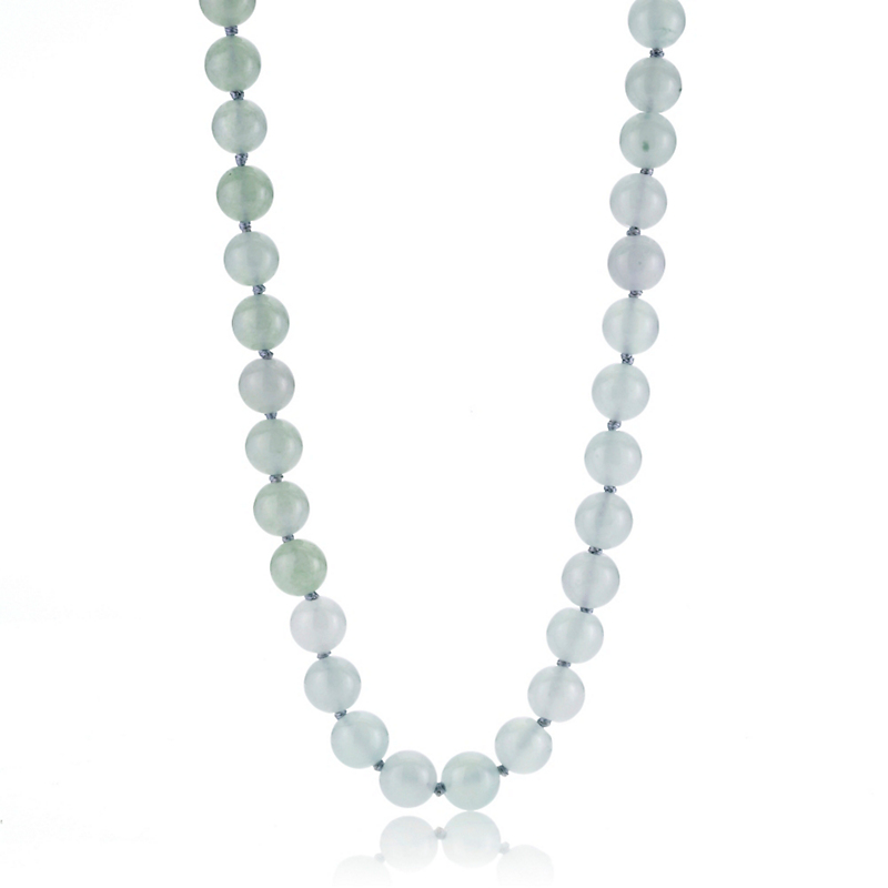 Gump's Translucent Jadeite Bead Gold Necklace