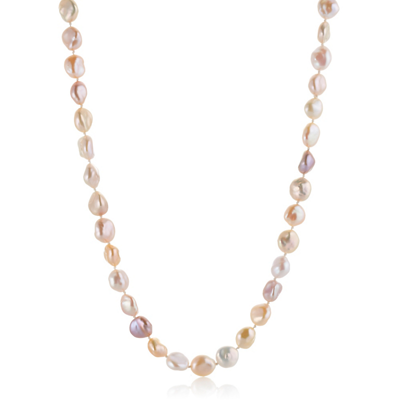 Gump's Multi Pastel Baroque Pearl Rope Necklace