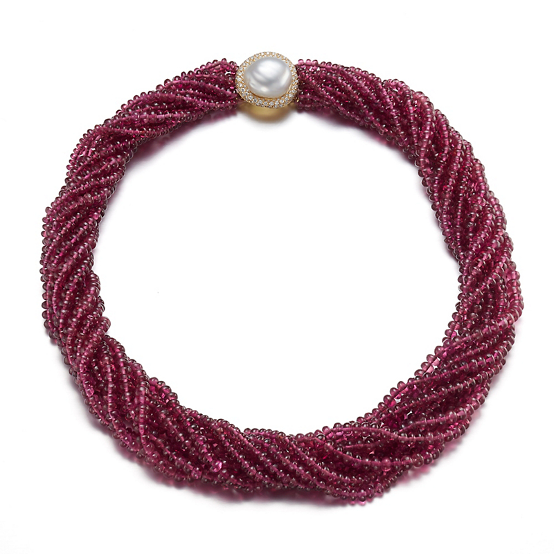 Gump's Nine Strand Rubellite with South Sea Pearl & Diamond Clasp Necklace