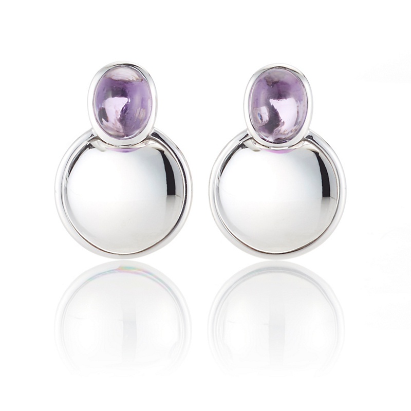 Gump's Amethyst Cabochon & Silver Dome Earrings