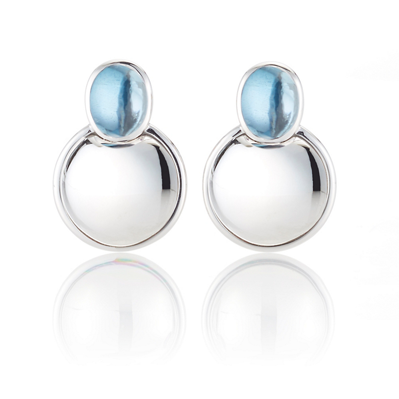 Gump's Blue Topaz Cabochon & Silver Dome Earrings