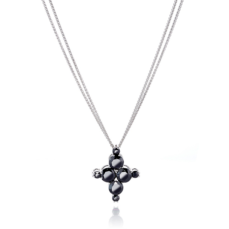 Gump's Onyx & White Topaz Four Point Cluster Pendant Necklace