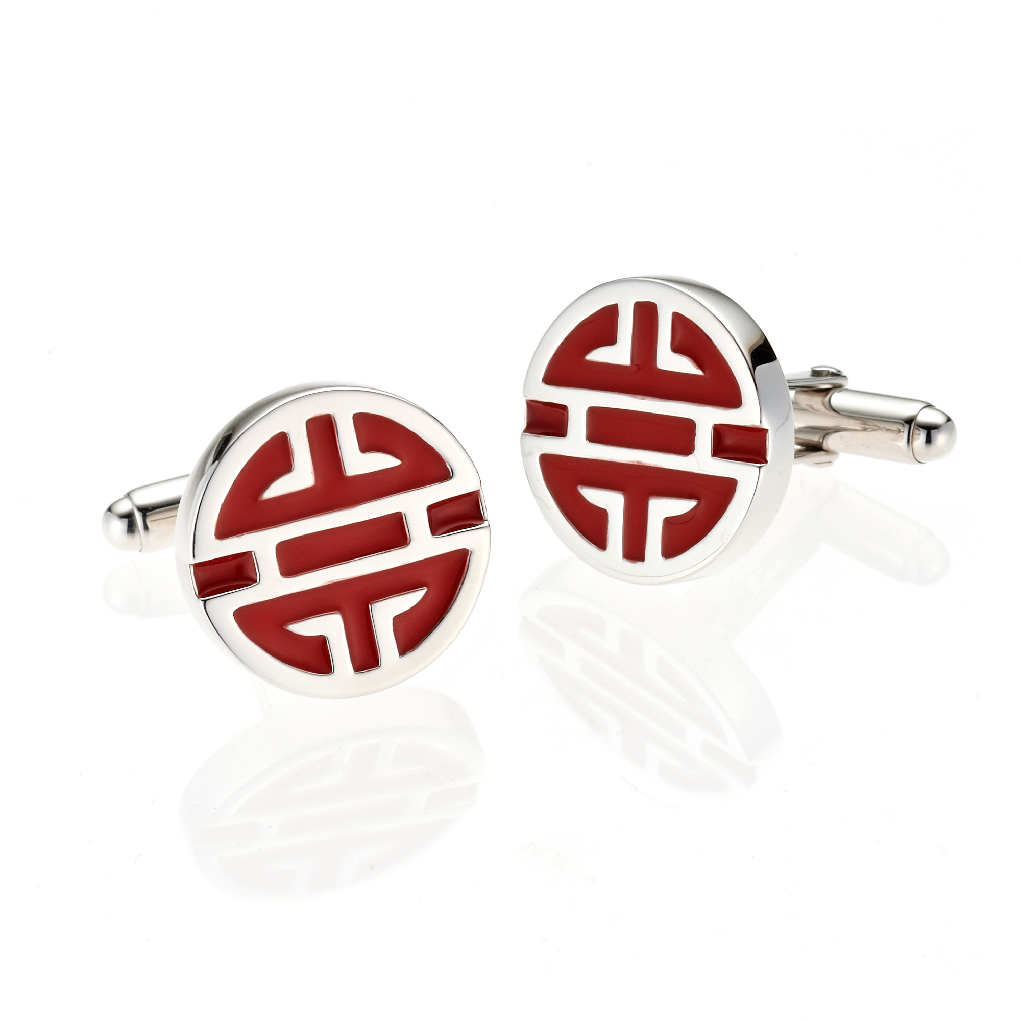 Gump's Shou Red Enamel Cufflinks