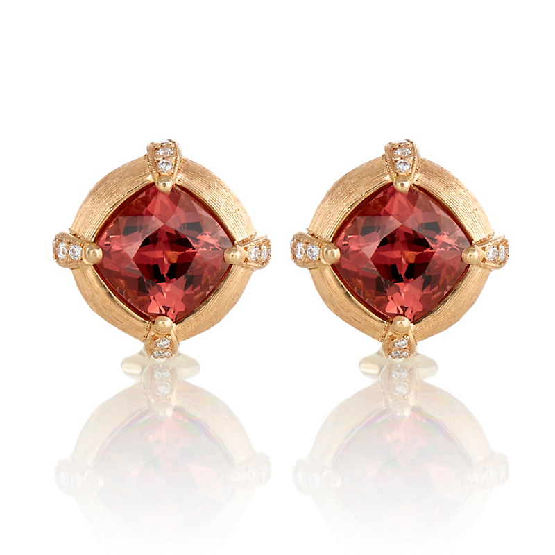 Gump's Faceted Garnet & Diamond Prong Earrings
