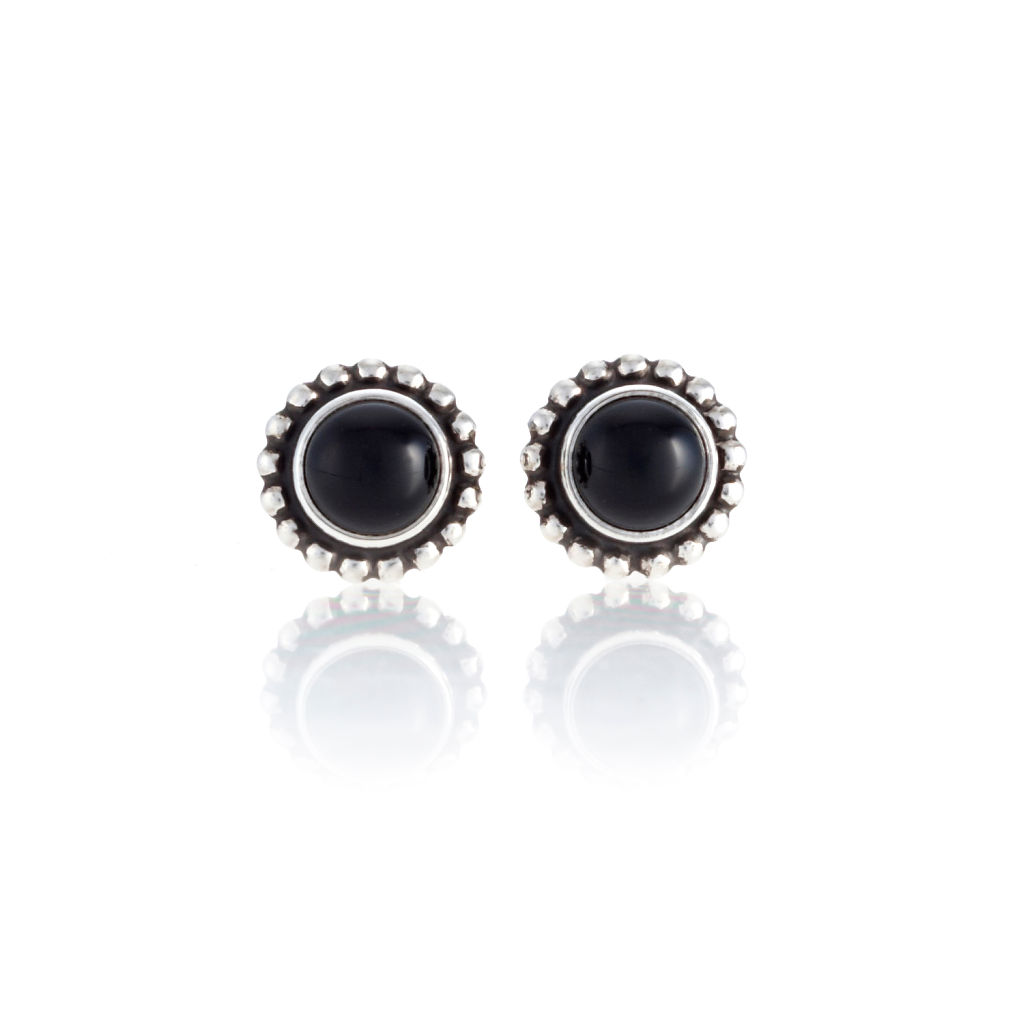 Georg Jensen Moonlight Blossom Black Agate Round Stud Earrings