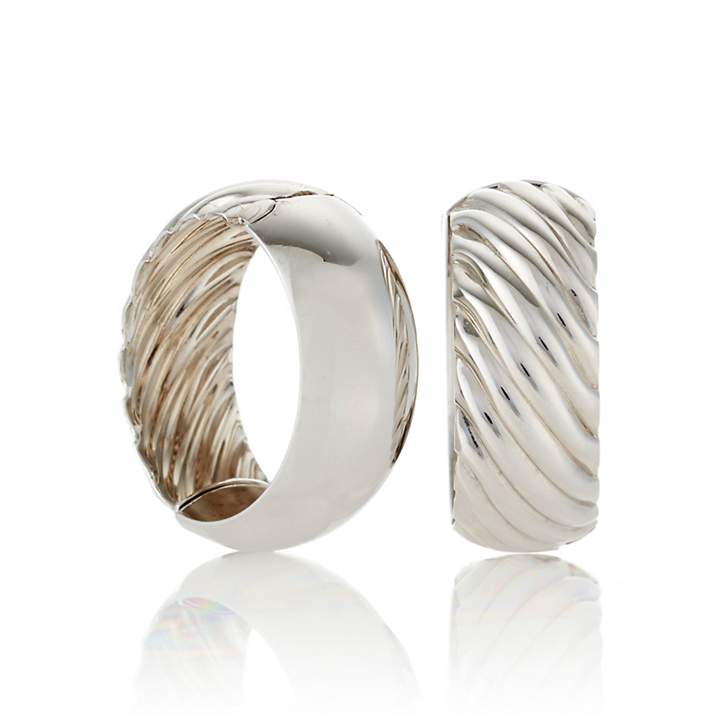 White Gold Reversible Hoop Earrings