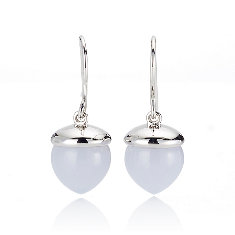 Gump's Smooth Chalcedony & Silver Acorn Drop Earrings