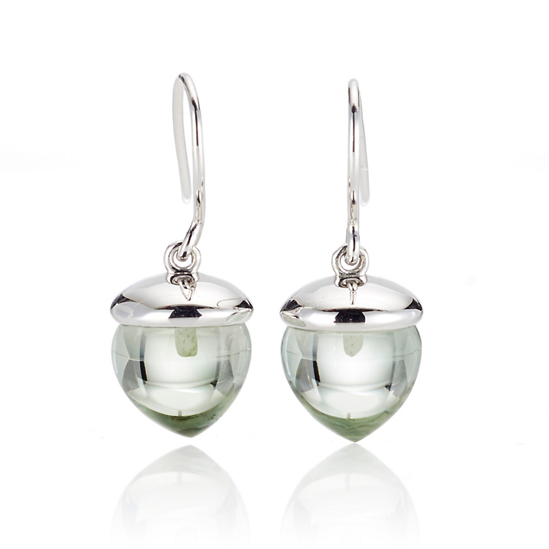 Gump's Smooth Green Quartz & Silver Acorn Drop Earrings