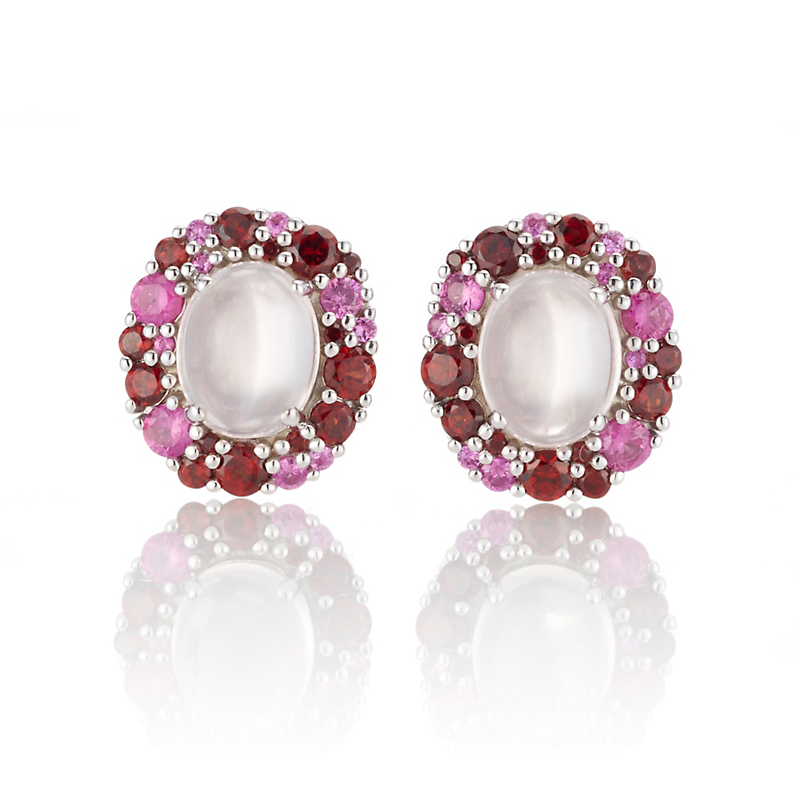 Gump's Rose Quartz Cabochon with Garnet & Pink Sapphire Silver Cluster Earrings
