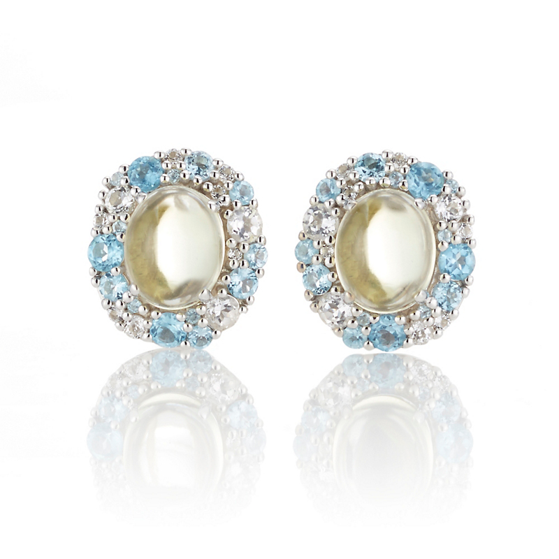 Gump's Lemon Quartz Cabochon with White & Blue Topaz Silver Cluster Earrings