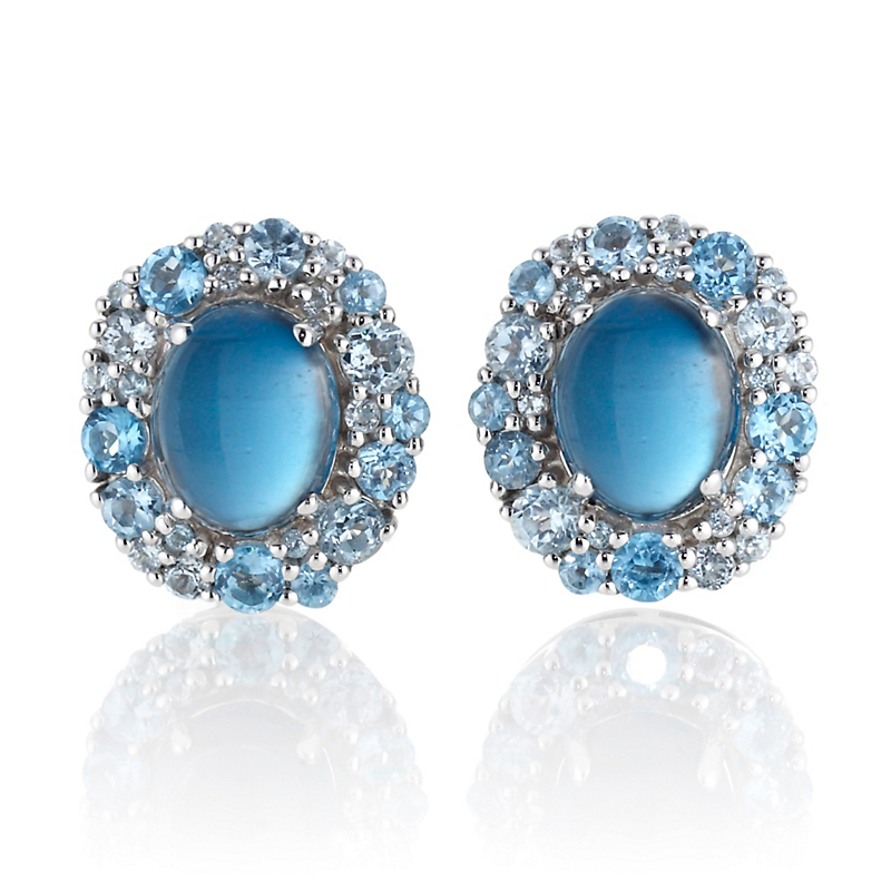 Gump's Multi-tone Blue Topaz Cabochon & Silver Cluster Earrings