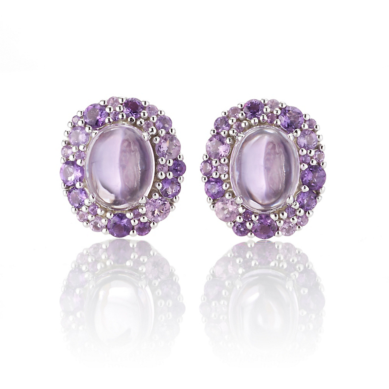 Gump's Multi-tone Amethyst Cabochon & Silver Cluster Earrings