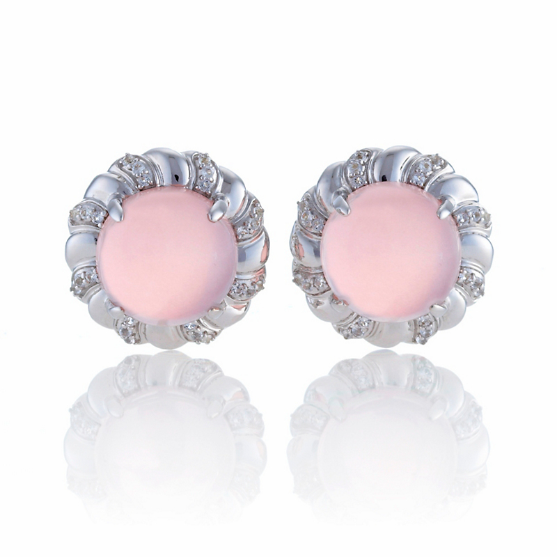 Gump's Rose Quartz Round Cabochon & White Topaz Silver Swirl Earrings