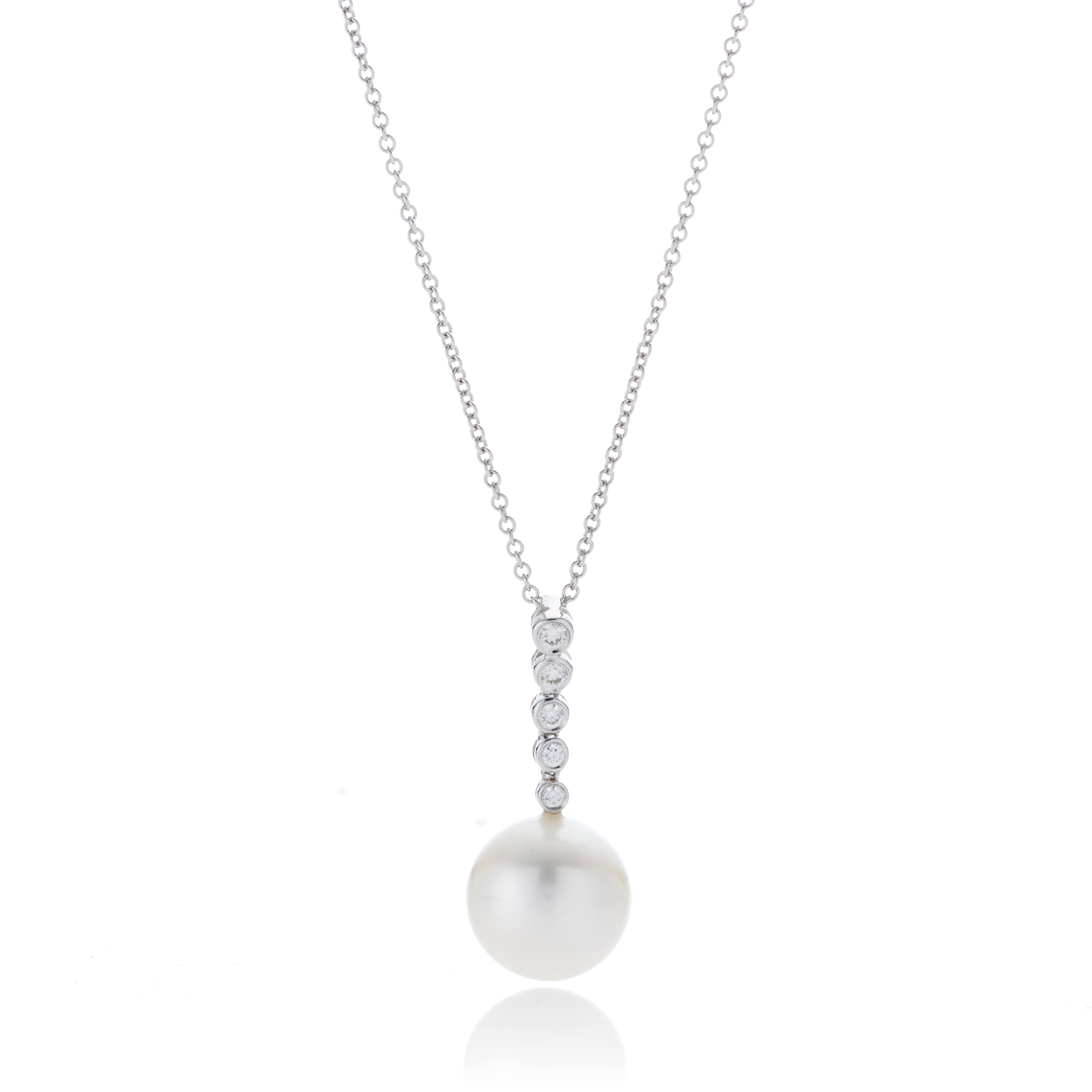 Gump's Diamond Bale & Pearl White Gold Pendant Necklace