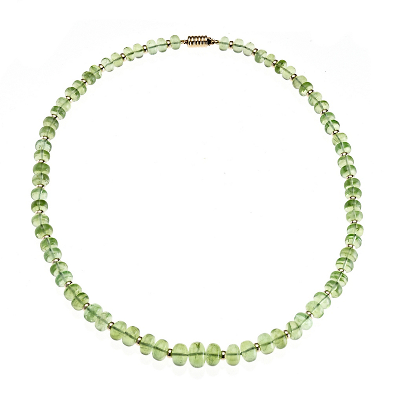 Gump's Graduated Smooth Peridot & Rondelle Necklace