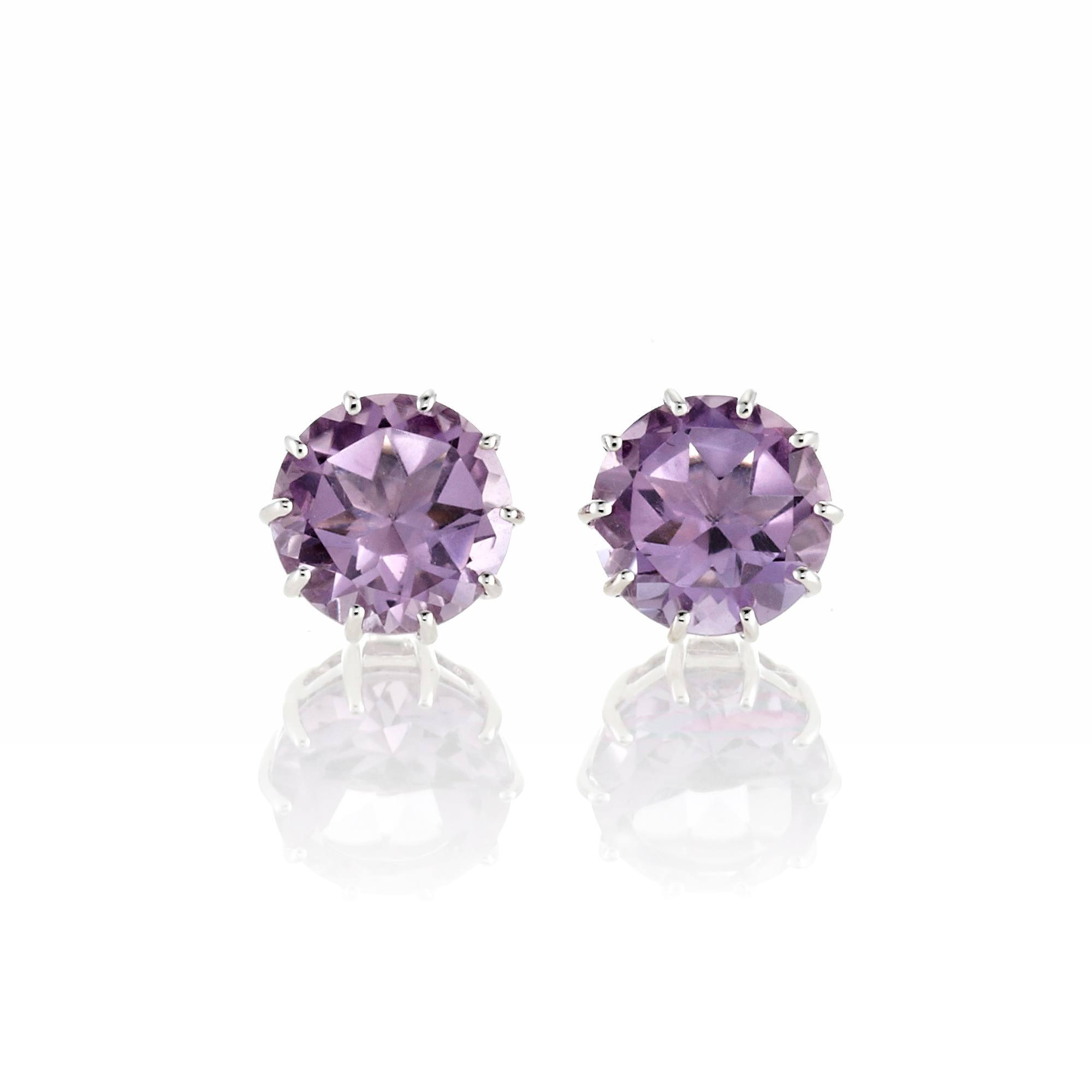 Gump's Amethyst Round Stud Earrings