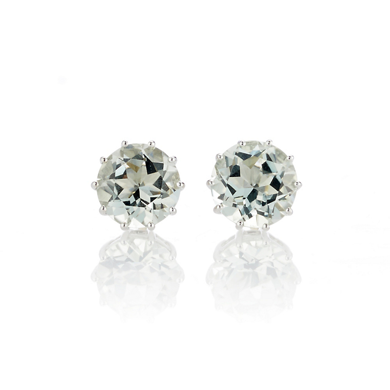 Gump's Green Quartz Round Stud Earrings