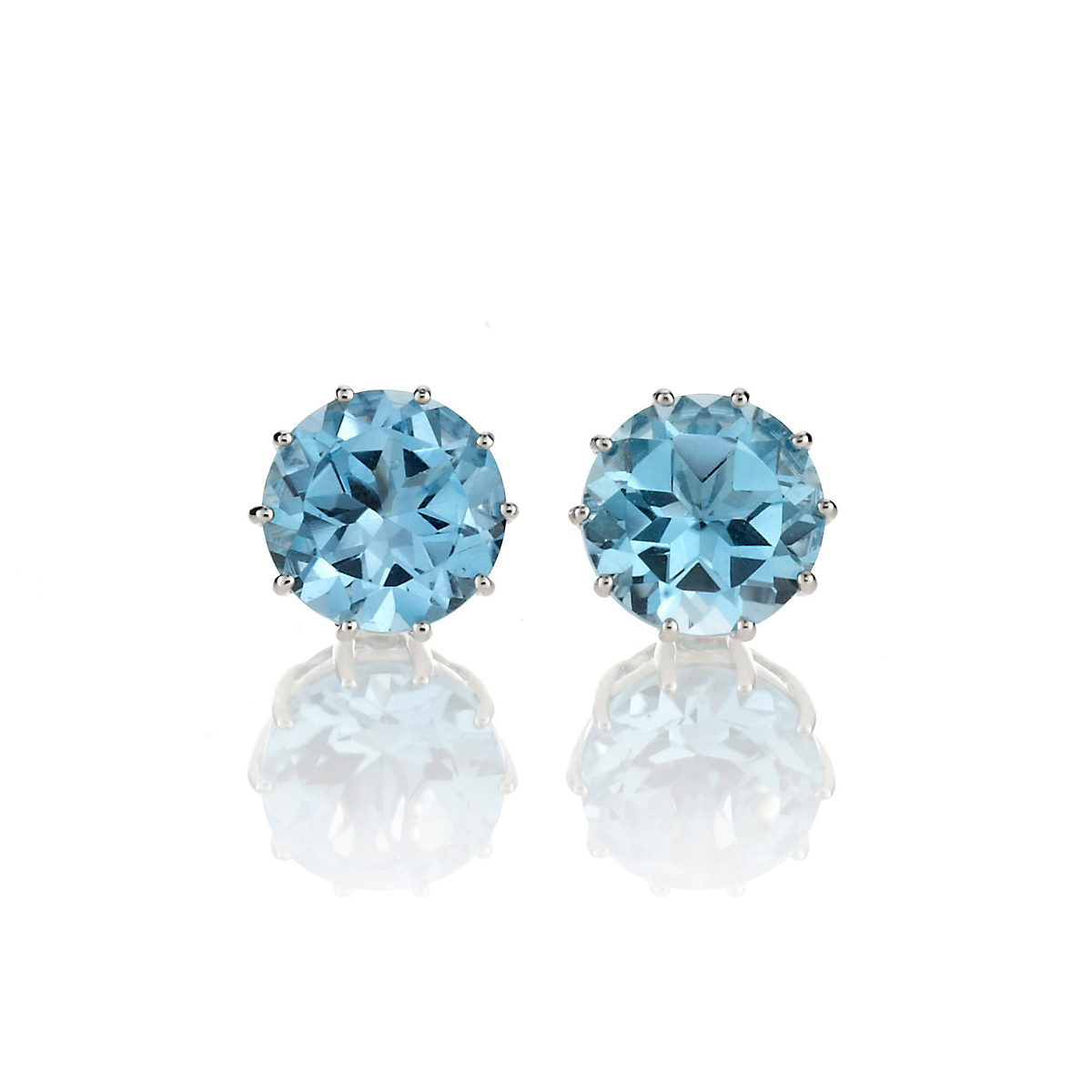 Gump's Swiss Blue Topaz Round Stud Earrings
