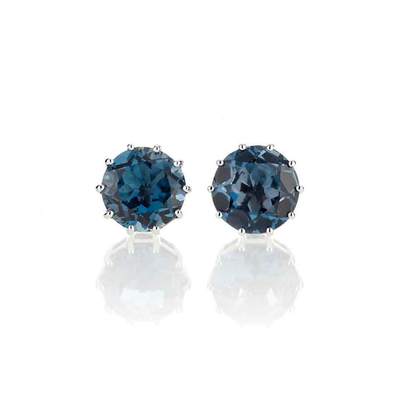 Gump's London Blue Topaz Round Stud Earrings