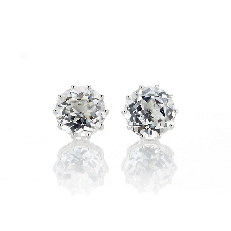 Gump's White Quartz Round Stud Earrings