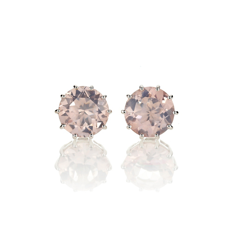Gump's Rose Quartz Round Stud Earrings