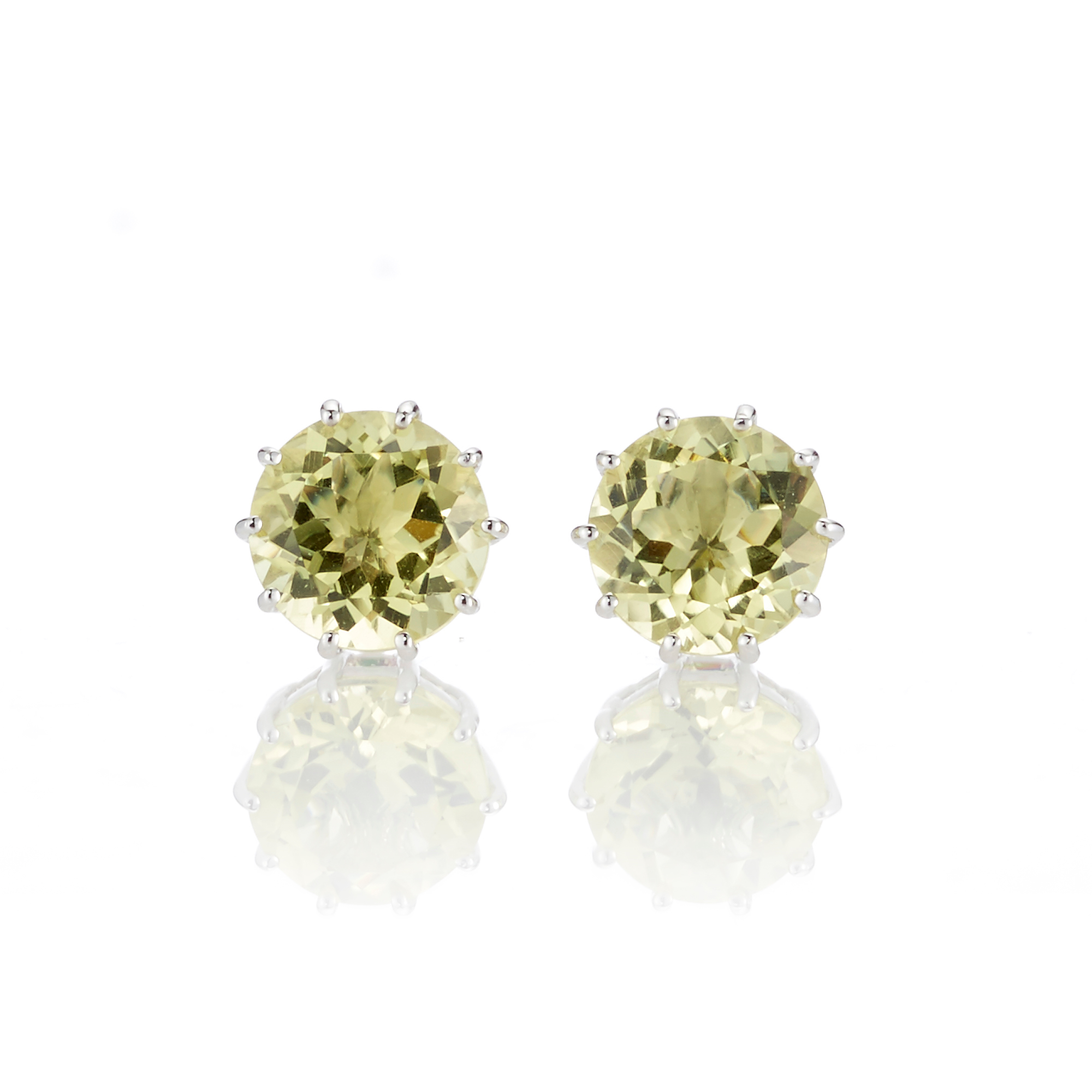 Gump's Lemon Quartz Round Stud Earrings
