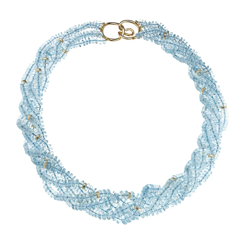 Gump's Five Strand Smooth Aquamarine & Gold Rondelle Necklace