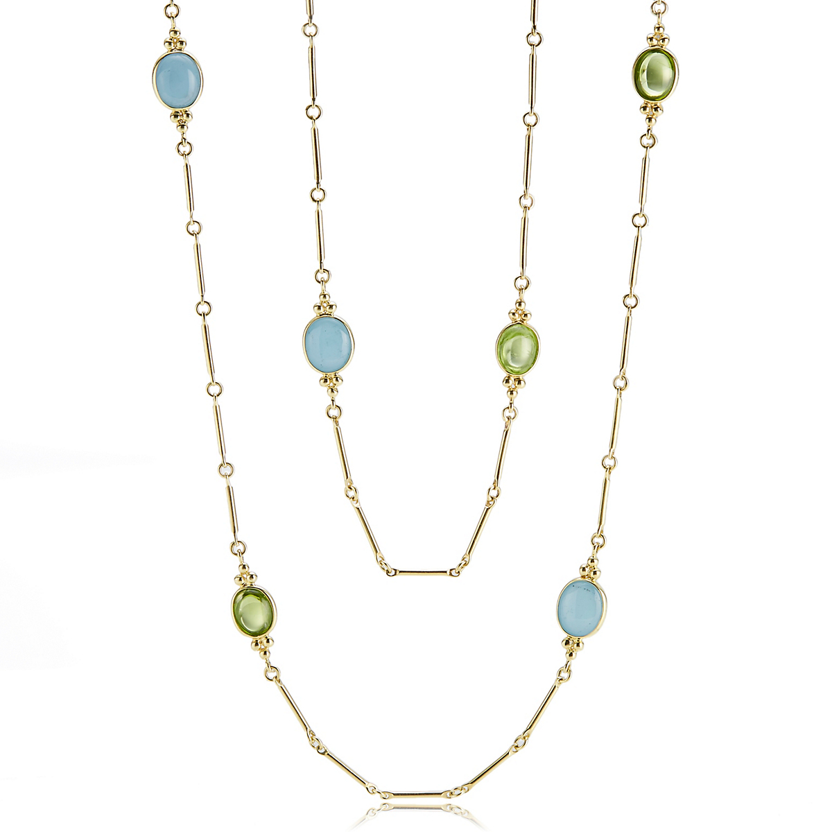 Aquamarine & Peridot Cabochon Capri Necklace