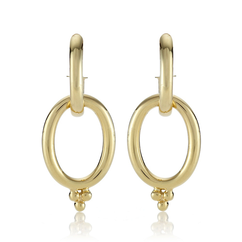 Gold Hoop & Open Oval Drop Earrings
