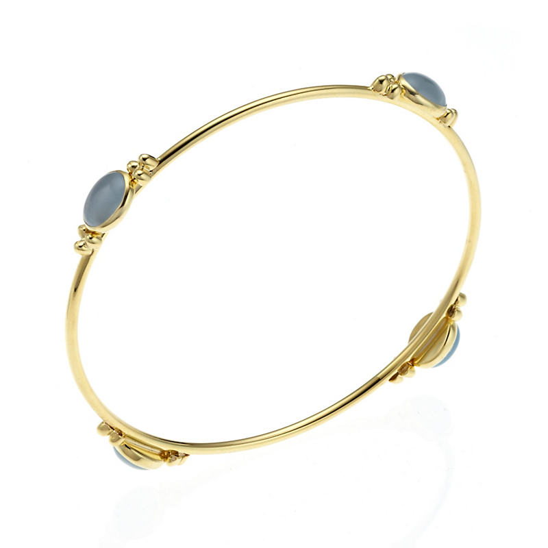 Aquamarine Cabochon Capri Thin Round Bangle