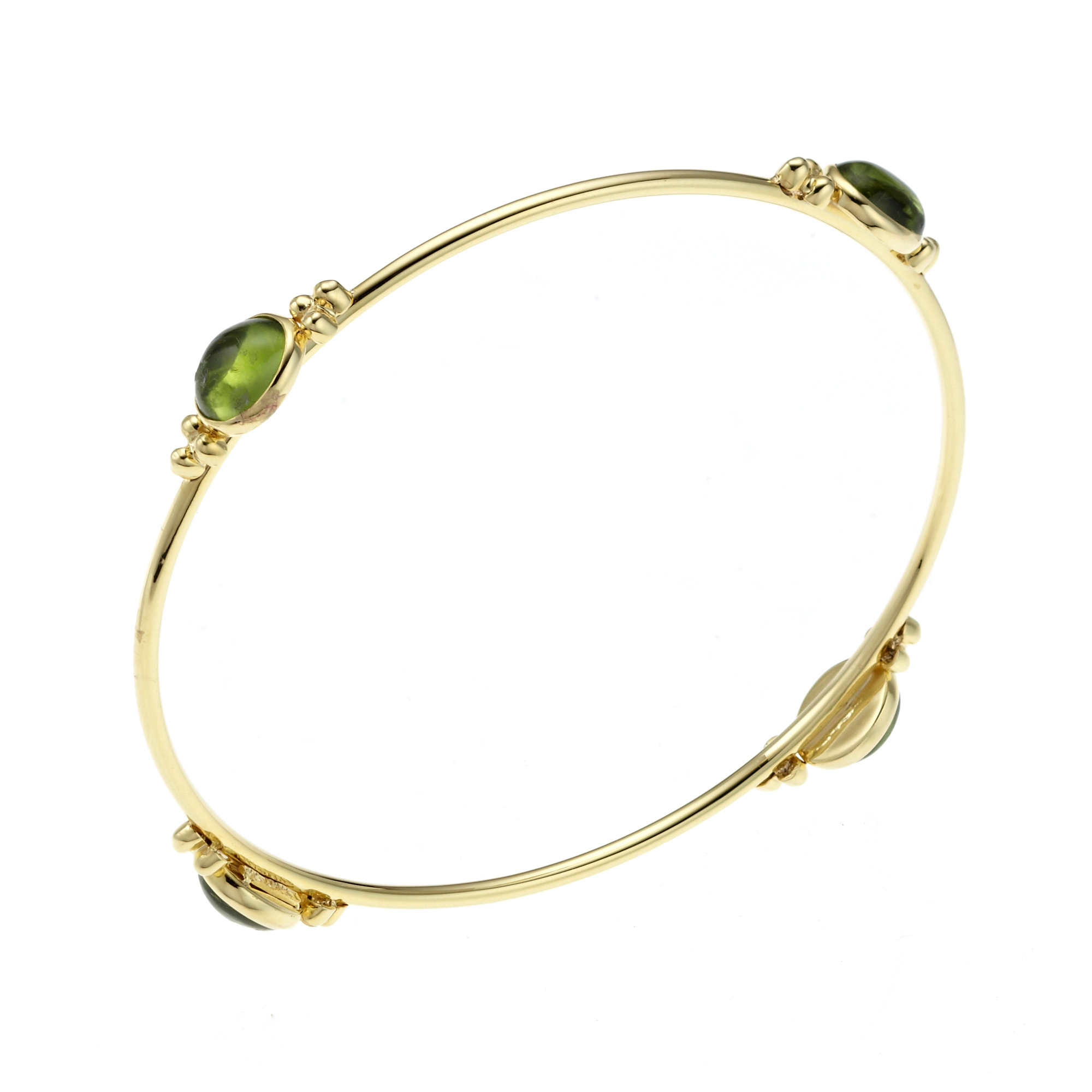 Peridot Cabochon Capri Thin Round Bangle