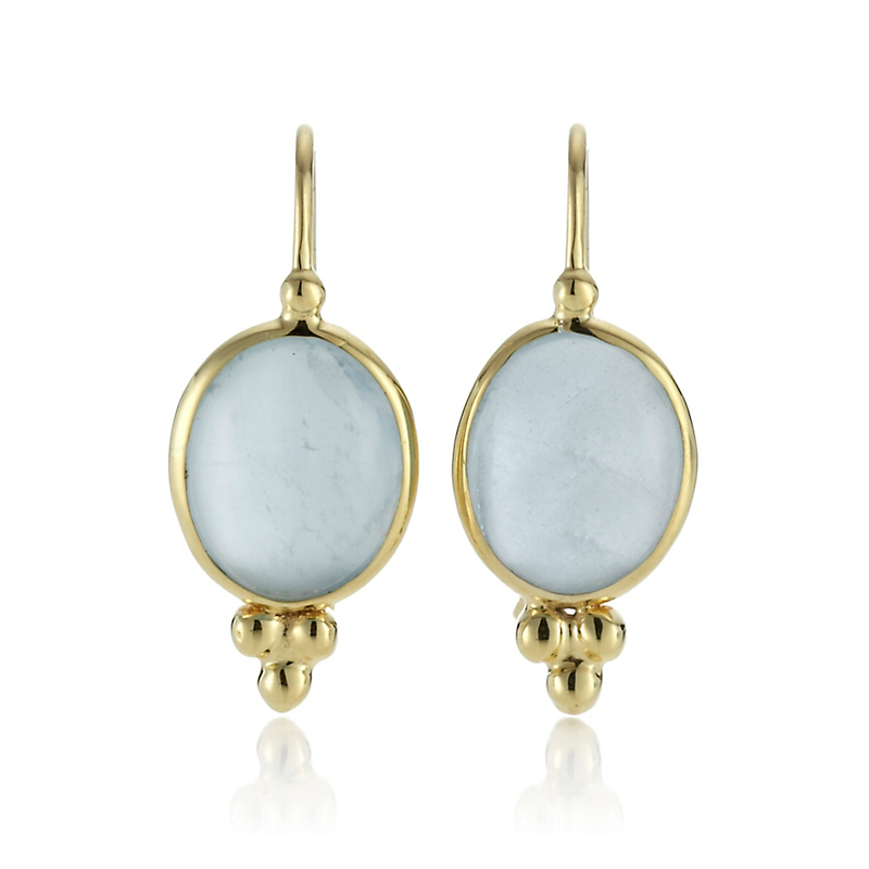 Aquamarine Cabochon Capri Drop Earrings
