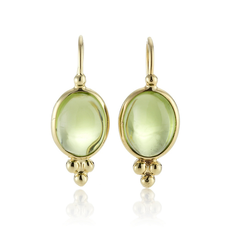 Peridot Cabochon Capri Drop Earrings