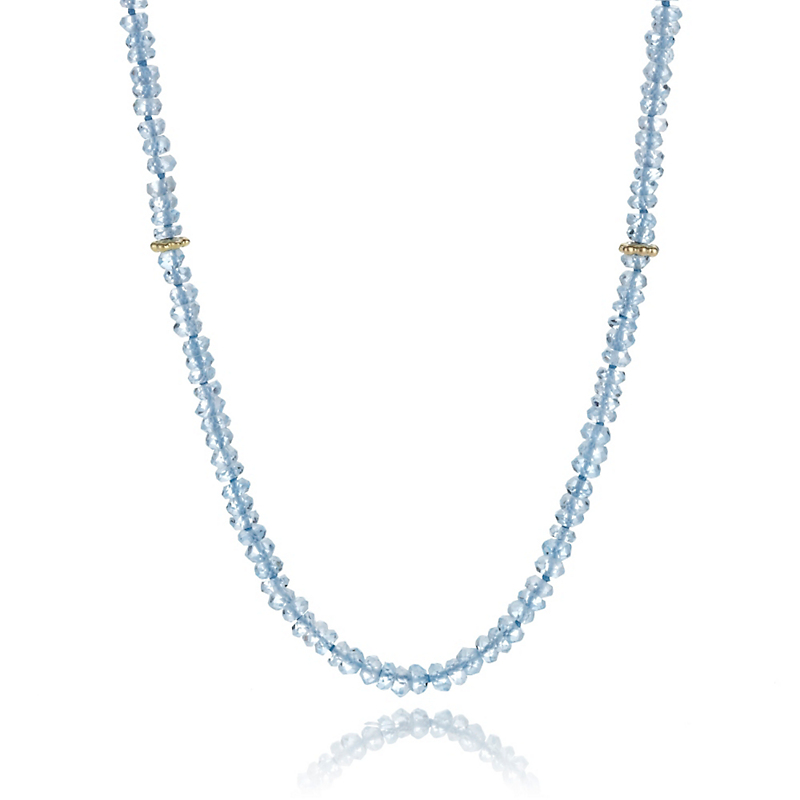 Faceted Aquamarine Long Thin Necklace