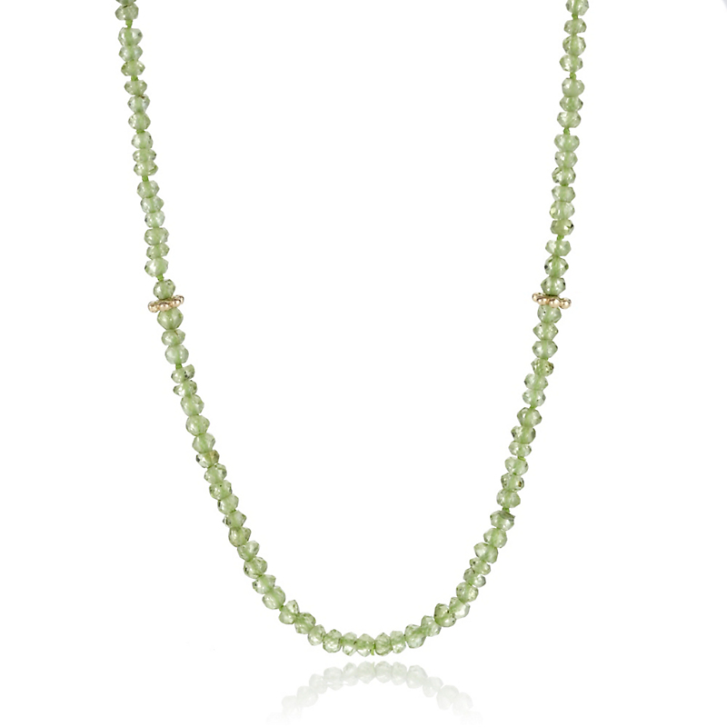 Faceted Peridot Long Thin Necklace
