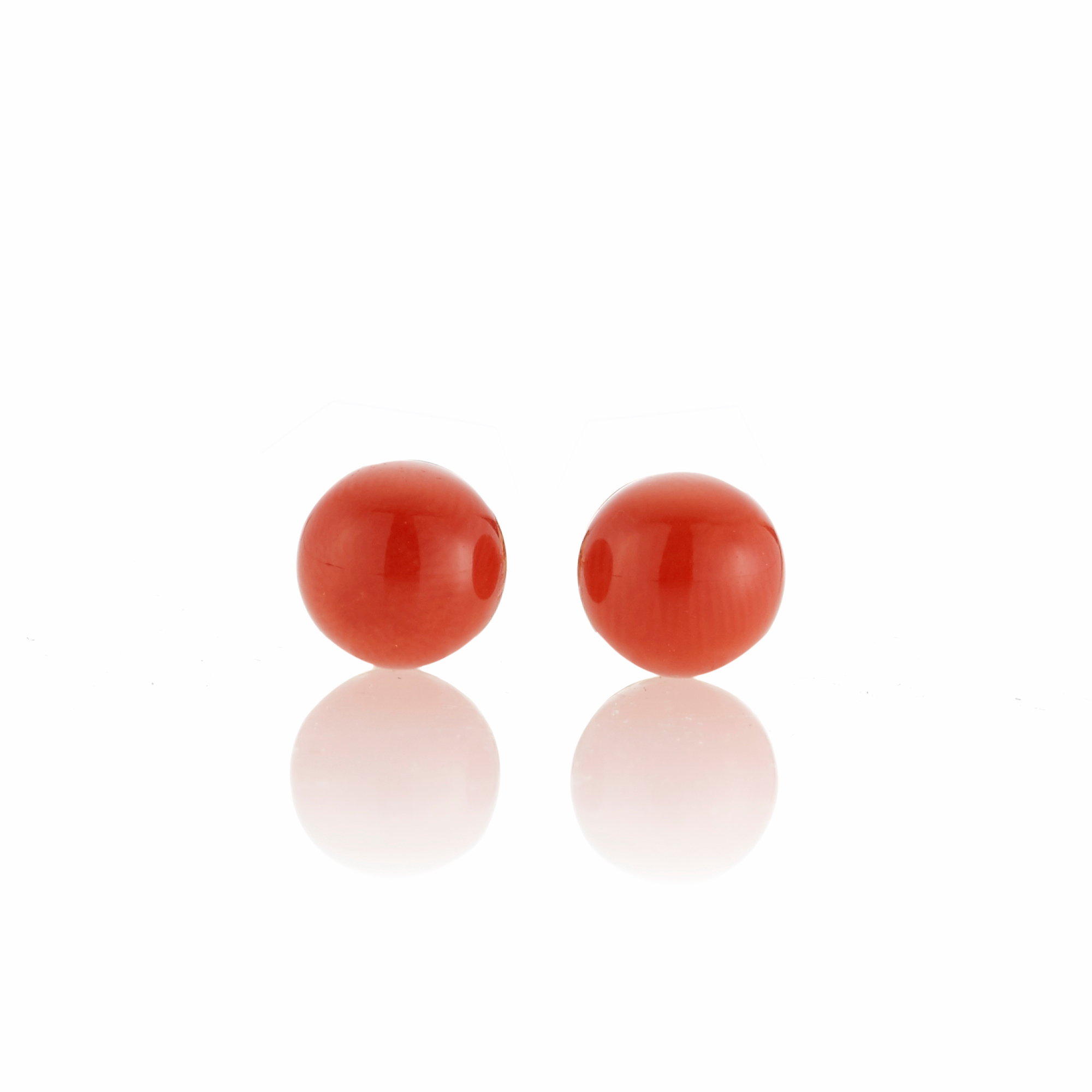 Gump's Small Red Coral Bead Earrings