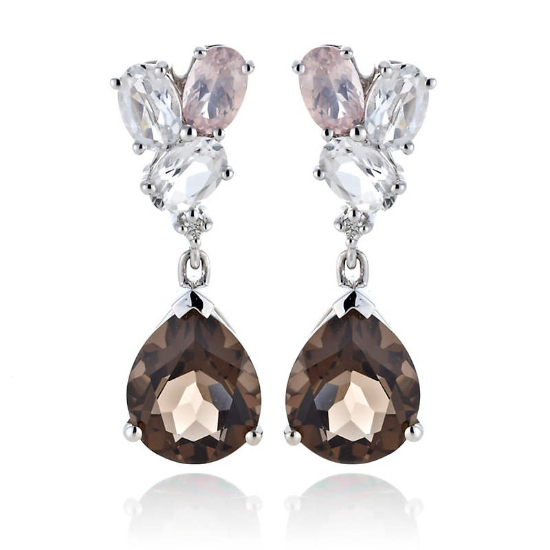 Gump's Faceted Smokey, Rose, & White Quartz Drop Earrings