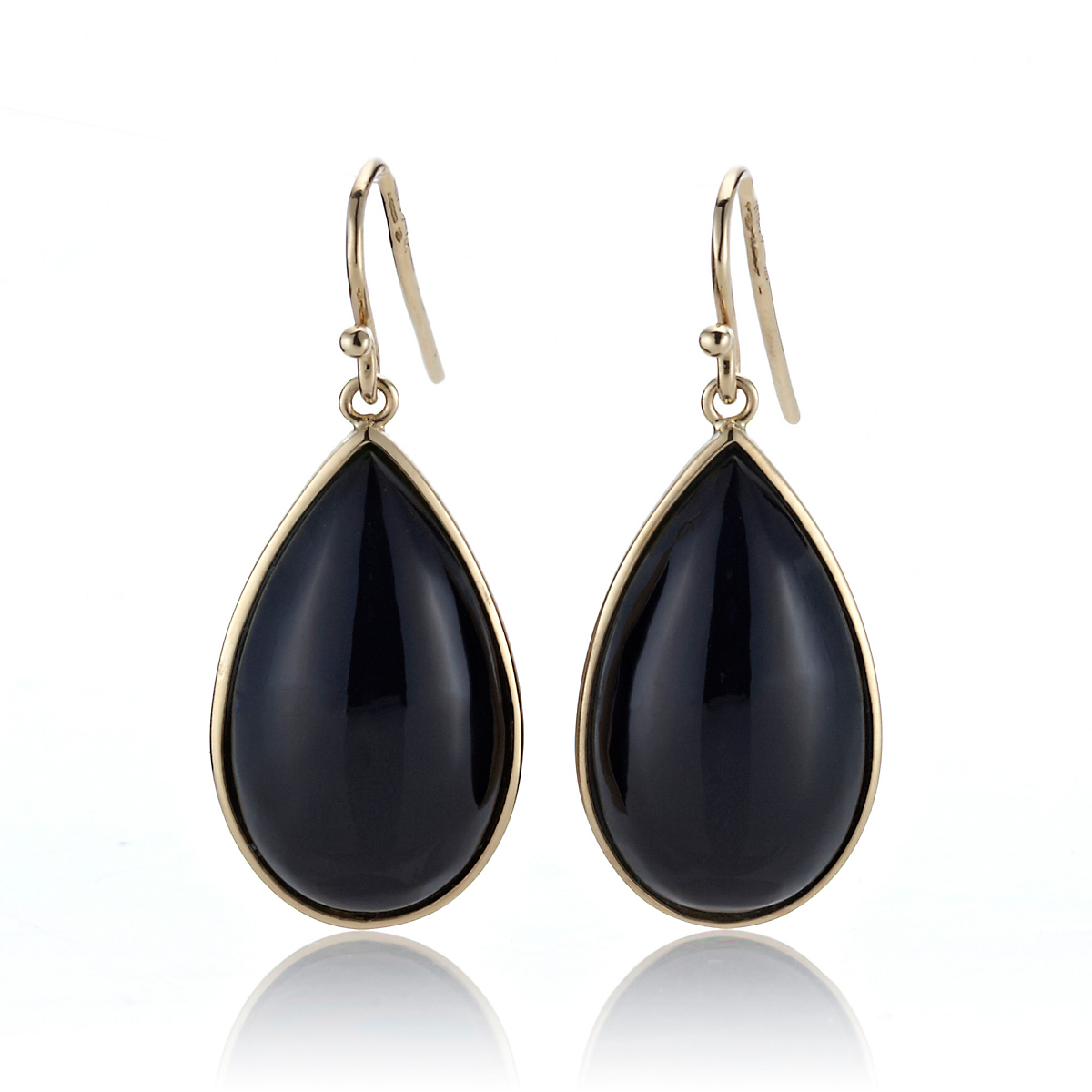 Gump's Black Nephrite Jade Cabochon Teardrop Earrings