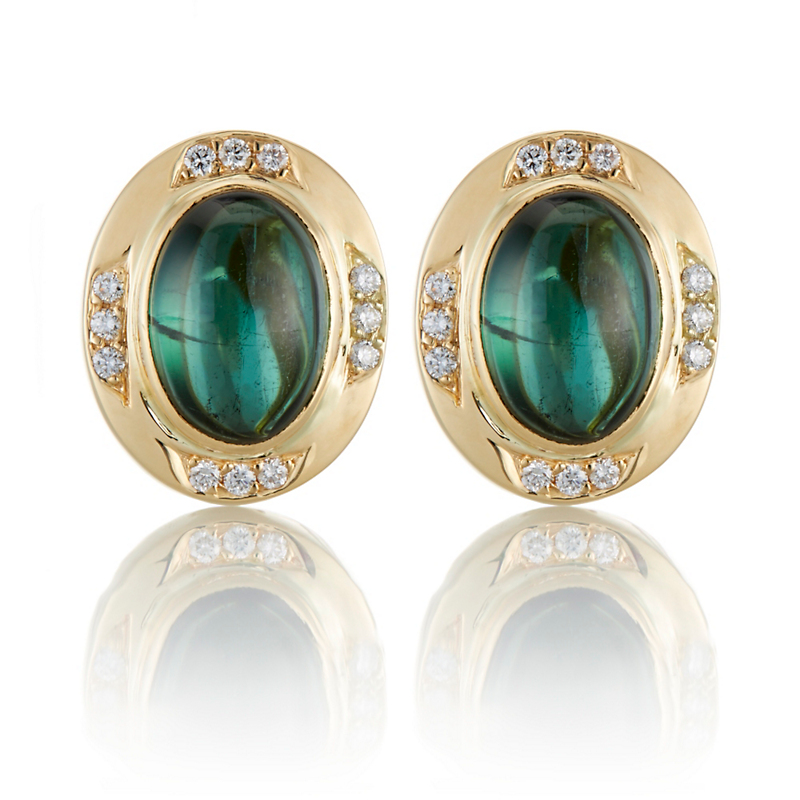 Gump's Green Tourmaline Cabochon and Diamond Earrings