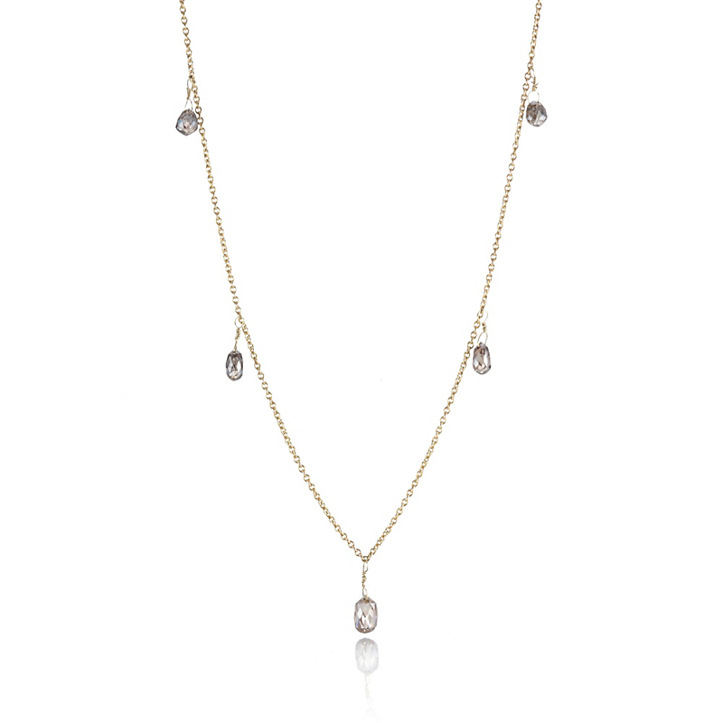 Delicate Brown Diamond Briolette Necklace