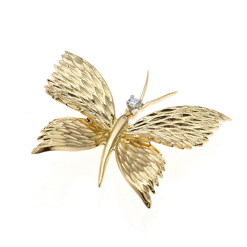 Textured Gold & Diamond Butterfly Brooch