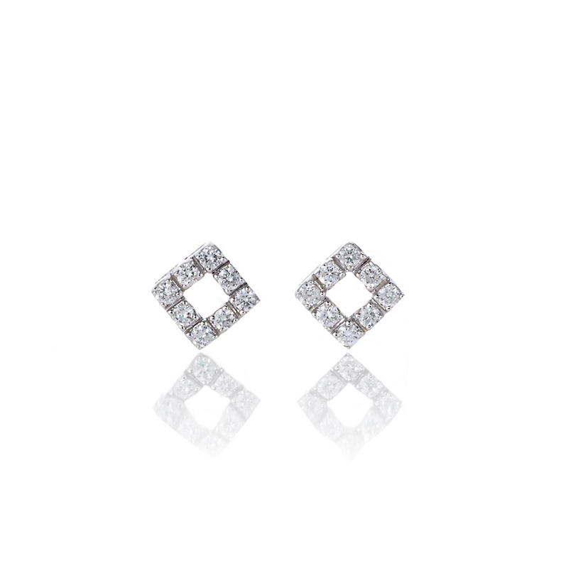 Petite Diamond Open Square White Gold Stud Earrings