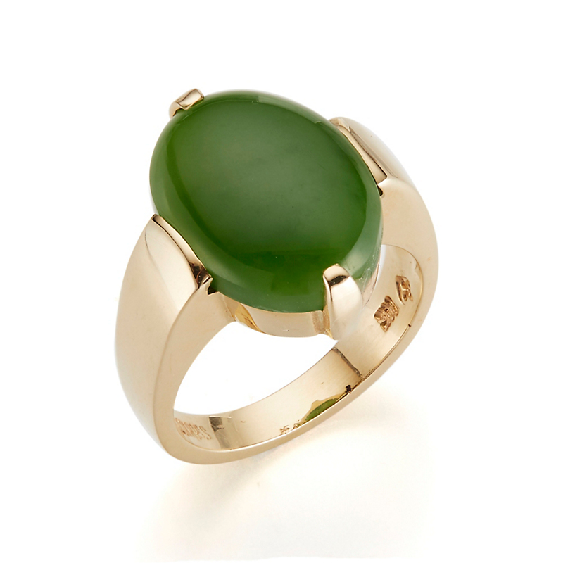 Leaf Green Jade Cabochon Ring