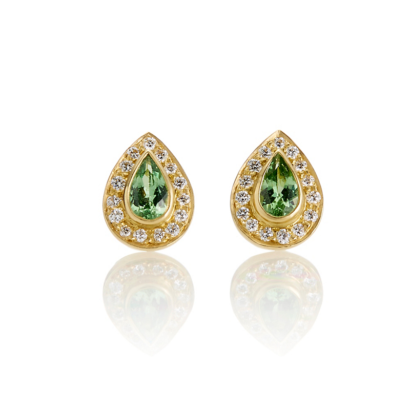 Kothari Tsavorite & Diamond Halo Teardrop Stud Earrings